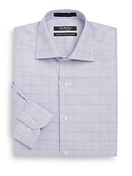 Saks Fifth Avenue Classic Fit Plaid Cotton Dress Shirt Purple