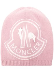 Moncler Knitted Logo Beanie Pink