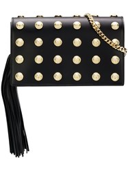 Balmain Logo Studded Clutch Black