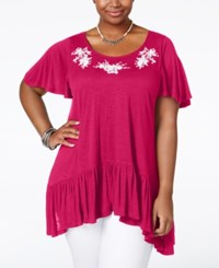 American Rag Plus Size Embroidered Handkerchief Hem Top Only At Macy's Festival Fuschia