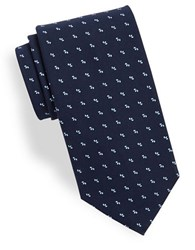 Brooks Brothers Printed Cotton Tie Navy