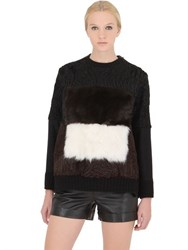 Fendi Shearling And Wool Blend Sweatshirt