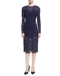 Veronica Beard Jewel Neck Long Sleeve Corded Lace Cocktail Dress Black Blue