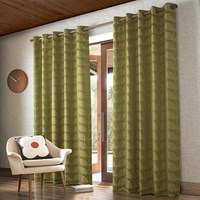 Orla Kiely Jacquard Stem Eyelet Curtains Yellow Olive Green