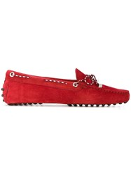 Tod's Lace Up Loafers Women Leather Suede Rubber 36.5 Red