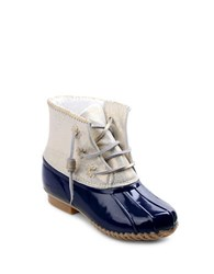 Jack Rogers Chloe Fleece Lined Leather Duck Boots Navy Blue
