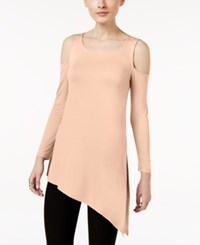 Cable And Gauge Asymmetrical Cold Shoulder Top Soft Pink