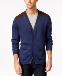 Tasso Elba V Neck Faux Suede Patch Cardigan Only At Macy's Navy Heather