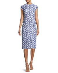 Lela Rose Cap Sleeve Dotted Floral Lace Fitted Sheath Dress White Blue
