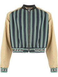 Andrea Crews Cropped Bomber Jacket Green