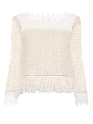 Rebecca Taylor Crochet Lace Square Neck Top Ivory