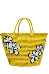 Sensi Studio Hibiscus Straw Beach Bag