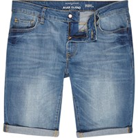 River Island Mens Light Wash Skinny Stretch Denim Shorts