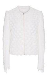 Jonathan Simkhai Draped Fringe Jacket White