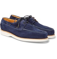 John Lobb Isle Suede Boat Shoes Navy
