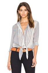 7 For All Mankind Stripe Tie Front Button Up Blue