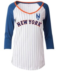 5Th And Ocean Women's New York Mets Pinstripe Glitter Raglan T Shirt White