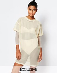 Story Of Lola Sheer Mesh T Shirt Dress With Lace Up Back Nude