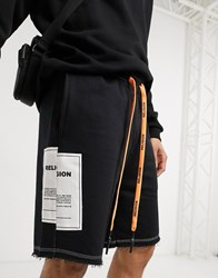 Religion Loose Fit Jersey Shorts With Brand Patch In Black
