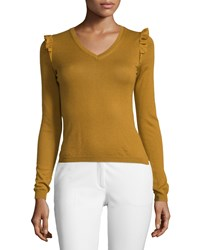 Red Valentino Long Sleeve Cashmere Blend Sweater W Ruffled Shoulder Women's