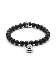 King Baby Studio Silver Star And 8Mm Onyx Beaded Charm Bracelet Silver Black