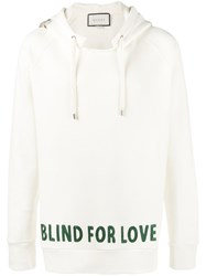 Gucci Blind For Love Embroidered Hoodie Men Cotton Xl Nude Neutrals