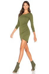 Bobi Supreme Jersey Long Sleeve Ruched Mini Dress Green
