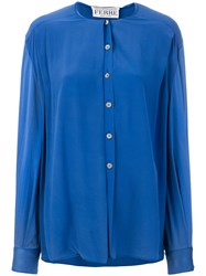 Gianfranco Ferre Vintage Collarless Shirt Blue