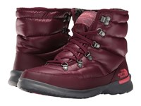 The North Face Thermoball Lace Ii Shiny Deep Garnet Red Calypso Coral Women's Pull On Boots Brown