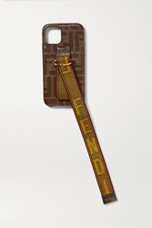 Fendi Canvas Trimmed Printed Textured Silicone Iphone 11 Pro Case Brown