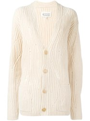 Maison Martin Margiela Distressed Effect Ribbed Cardigan Nude Neutrals