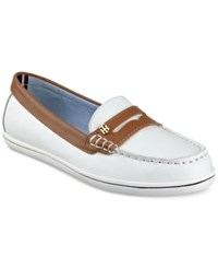 Tommy Hilfiger Butter Penny Loafers Women's Shoes White Multi Leather