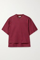Rosetta Getty Cocoon Jacquard Knit Top Red