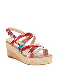 French Connection Liya Leather Wedge Sandals Multi Colored