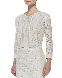 Kay J's By Kay Unger Cropped Lace Jacket Ivory