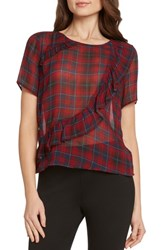 Willow And Clay Plaid Asymmetrical Ruffle Top Wine