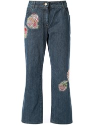 Christian Dior Vintage Patch Embellished Jeans Blue