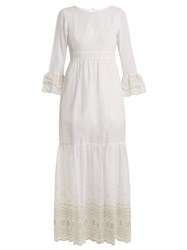 Athena Procopiou Sunday Morning Lace Trimmed Maxi Dress Ivory