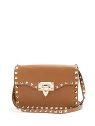 Valentino Rockstud Leather Cross Body Bag Tan
