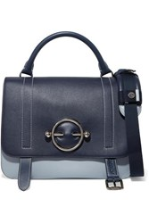 J.W.Anderson Jw Anderson Disc Two Tone Leather And Suede Shoulder Bag Navy