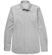 Caruso Slim Fit Penny Collar Brushed Cotton Twill Shirt Gray
