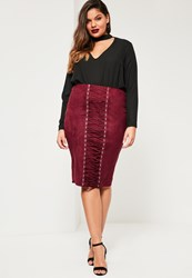 Missguided Plus Size Burgundy Faux Suede Lace Up Skirt