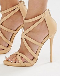 Missguided Strappy Heeled Gladiator Sandal Nude Beige