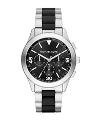 Michael Kors Gareth Silvertone Stainless Steel And Silicone Bracelet Watch Black