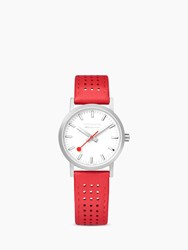 Mondaine Unisex Sbb Classic Rally Leather Strap Watch Red White A658.30323.16Sbc