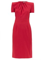 Alexander Mcqueen Draped Crepe Dress Dark Pink