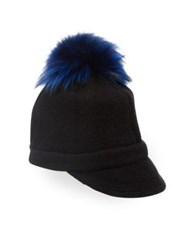 Portolano Cashmere And Fox Fur Pom Pom Peak Hat Royal