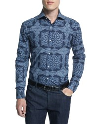 Goodman's Fancy Floral Pattern Woven Dress Shirt Navy