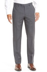 Men's Boss 'Sharp' Flat Front Solid Wool Trousers Grey Blue Plaid