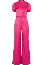 Brandon Maxwell Cape Effect Wool And Silk Blend Satin Jumpsuit Pink